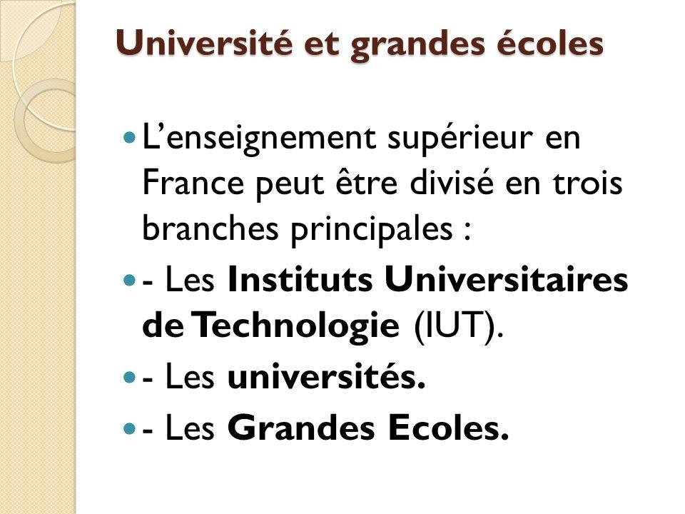 Université et grandes écoles Lenseignement supérieur en France peut être divisé en trois branches principales : - Les Instituts Universitaires de Tech