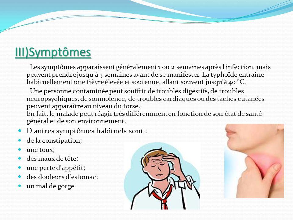 III)Symptômes Les symptômes apparaissent généralement 1 ou 2 semaines après l'infection, mais peuvent prendre jusqu'à 3 semaines avant de se manifeste