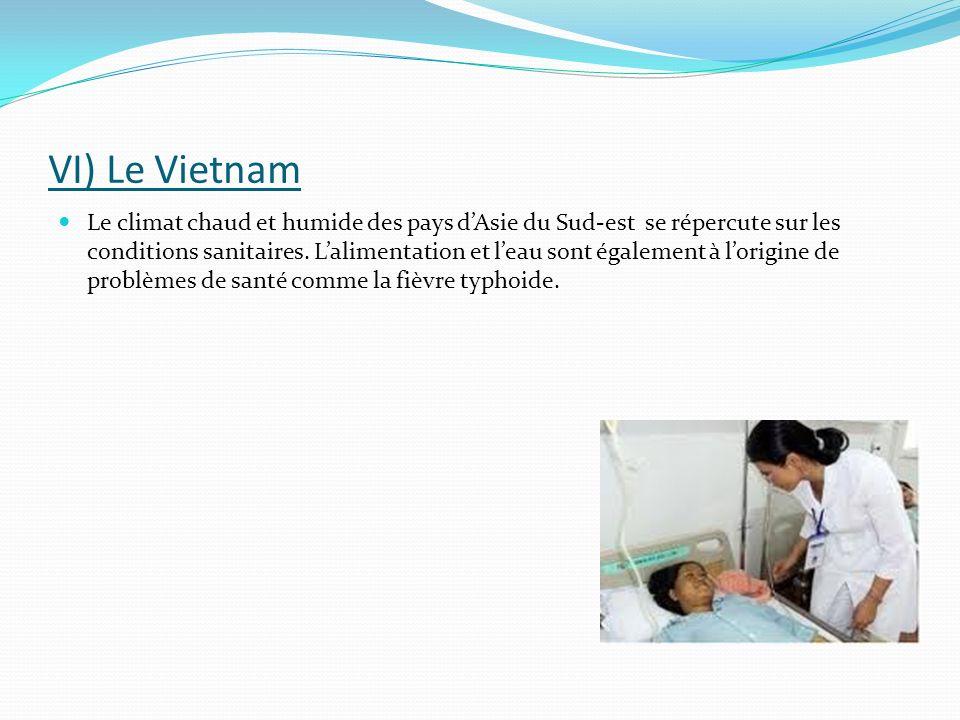 VI) Le Vietnam Le climat chaud et humide des pays dAsie du Sud-est se répercute sur les conditions sanitaires. Lalimentation et leau sont également à