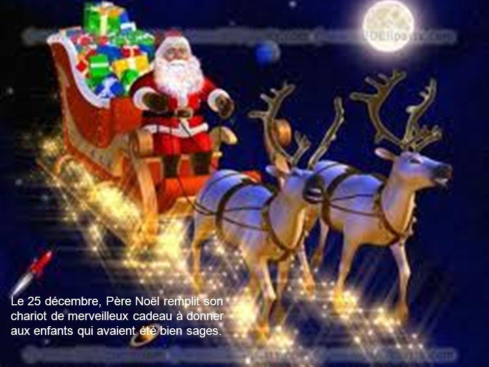 Le Père Noël embarqua à bord de son traîneau puis senvola en route vers le Pôle Nord à son atelier. Lorsquil arriva à destination, il vit mère qui att