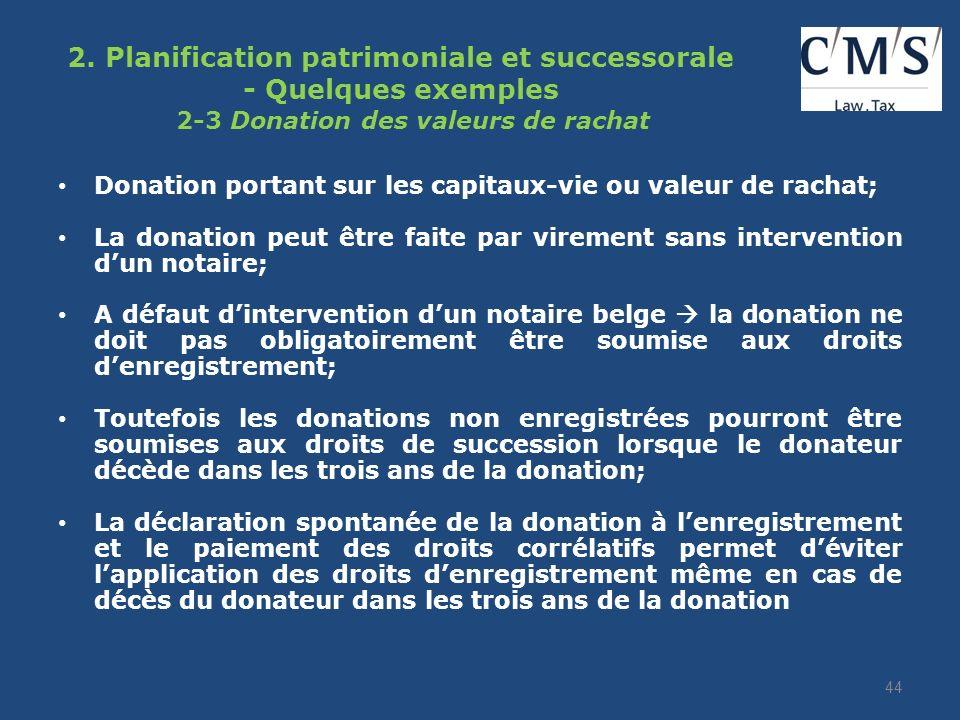 2. Planification patrimoniale et successorale Quelques exemples : 2-2 : Donation du bénéfice dun contrat dassurance (Wallonie) Méthode efficace unique