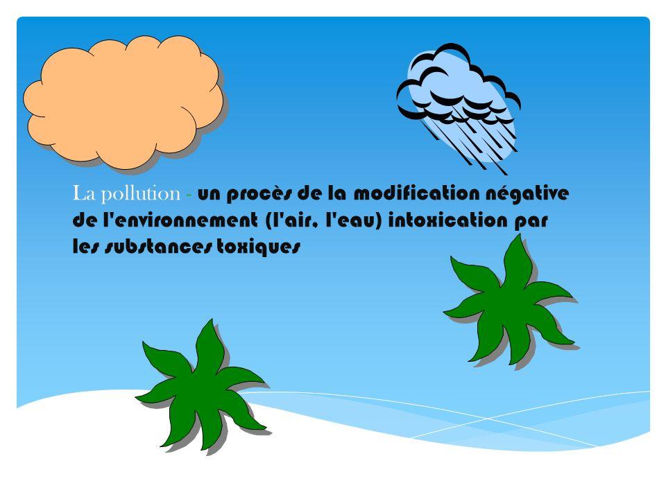 La pollution - un procès de la modification négative de l'environnement (l'air, l'eau) intoxication par les substances toxiques