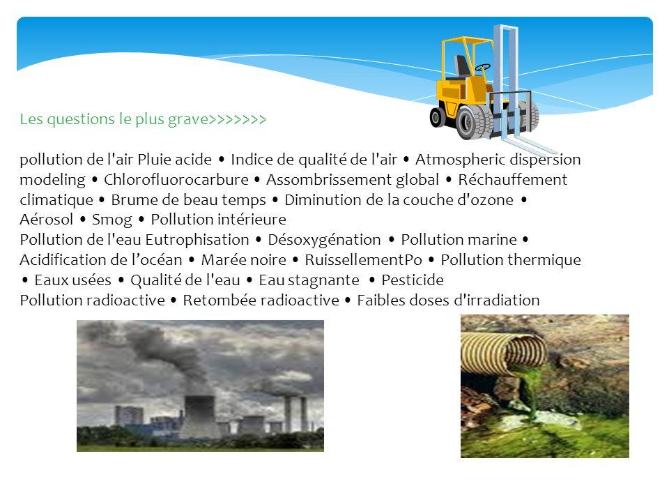 Les questions le plus grave>>>>>>> pollution de l'air Pluie acide Indice de qualité de l'air Atmospheric dispersion modeling Chlorofluorocarbure Assom