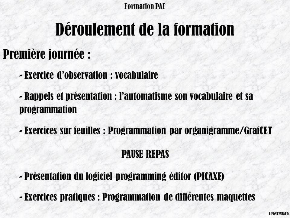Déroulement de la formation Formation PAF E.FONTENIAUD Première journée : - Exercice dobservation : vocabulaire - Rappels et présentation : lautomatis
