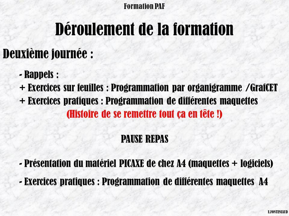 Déroulement de la formation Formation PAF E.FONTENIAUD Deuxième journée : - Rappels : + Exercices sur feuilles : Programmation par organigramme /GrafC