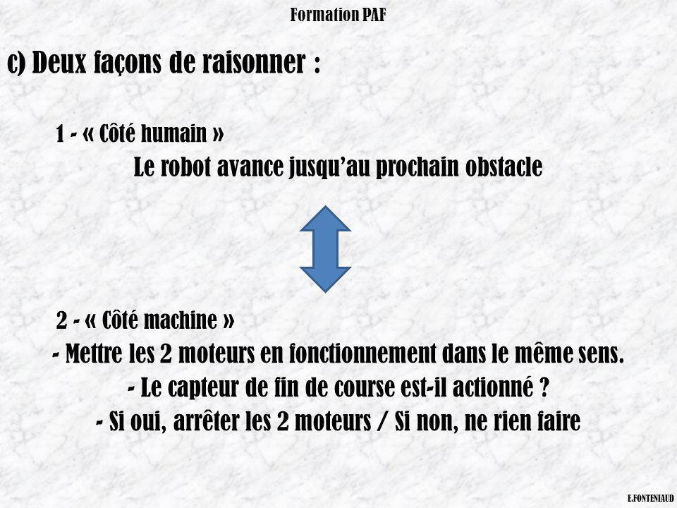 Formation PAF E.FONTENIAUD c) Deux façons de raisonner : 1 - « Côté humain » Le robot avance jusquau prochain obstacle 2 - « Côté machine » - Mettre l