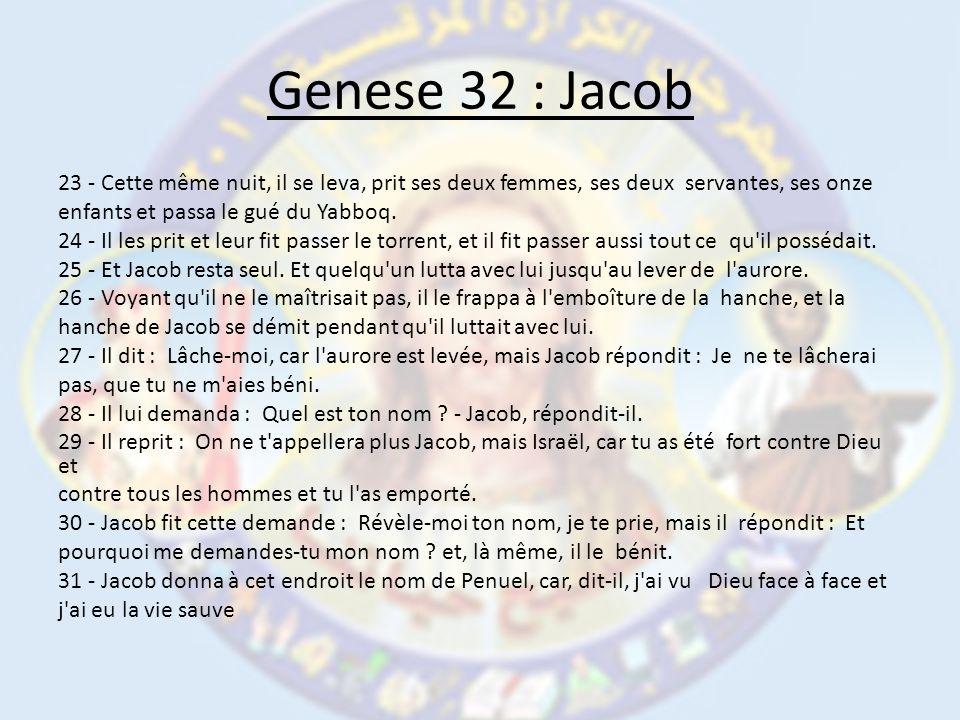 Genese 32 : Jacob 23 - Cette même nuit, il se leva, prit ses deux femmes, ses deux servantes, ses onze enfants et passa le gué du Yabboq.