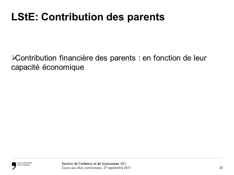 20 Service de lenfance et de la jeunesse SEJ Cours aux élus communaux, 21 septembre 2011 LStE: Contribution des parents Contribution financière des pa