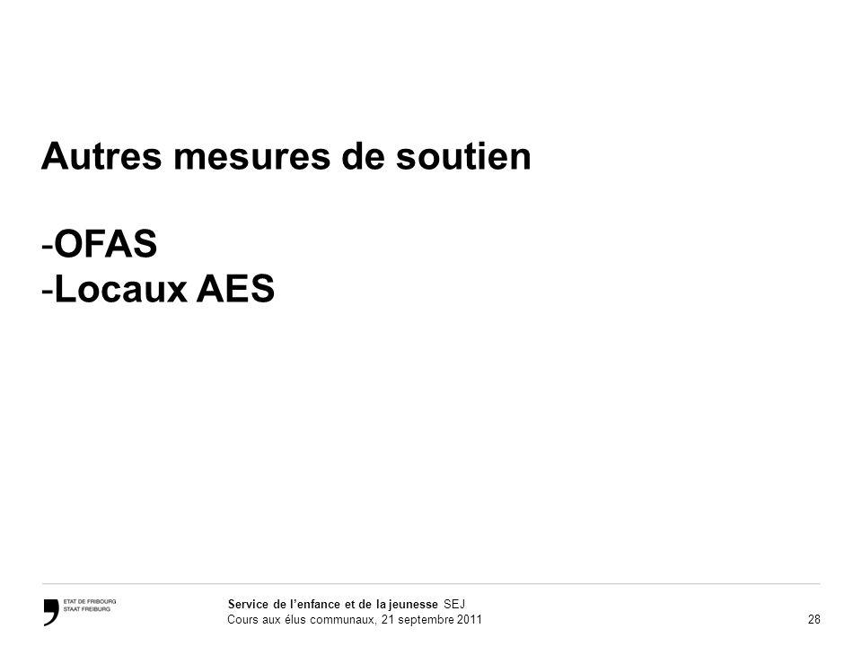 28 Service de lenfance et de la jeunesse SEJ Cours aux élus communaux, 21 septembre 2011 Autres mesures de soutien -OFAS -Locaux AES