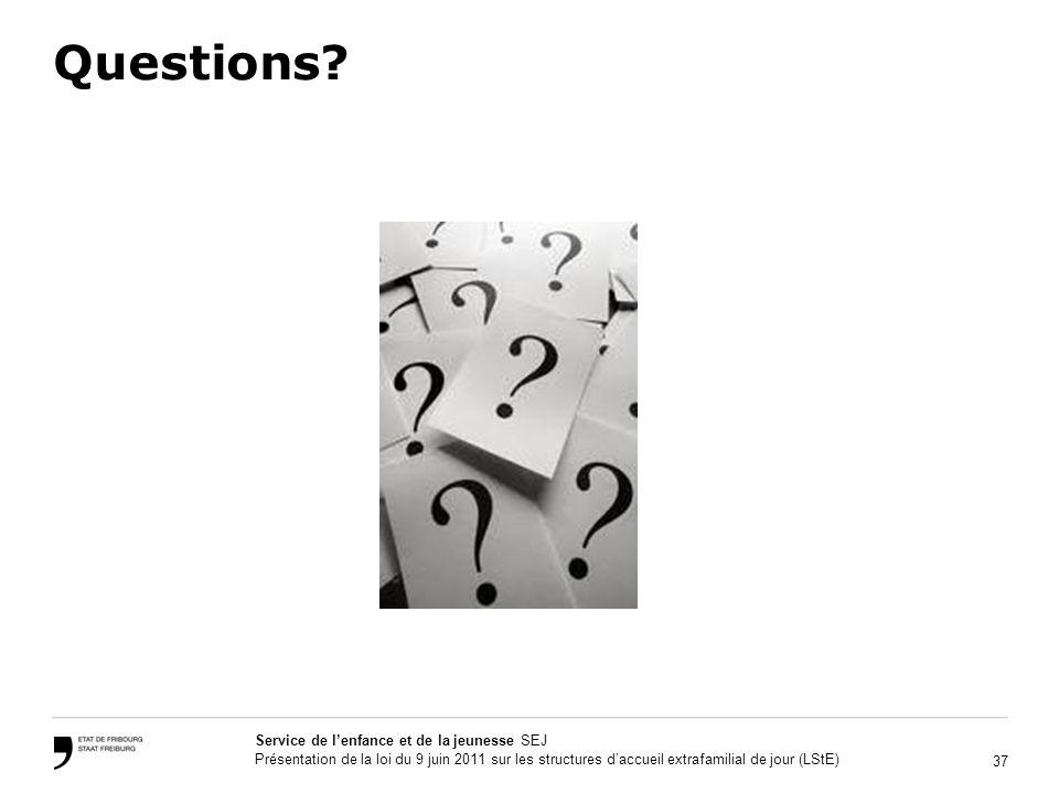 37 Service de lenfance et de la jeunesse SEJ Présentation de la loi du 9 juin 2011 sur les structures daccueil extrafamilial de jour (LStE) Questions