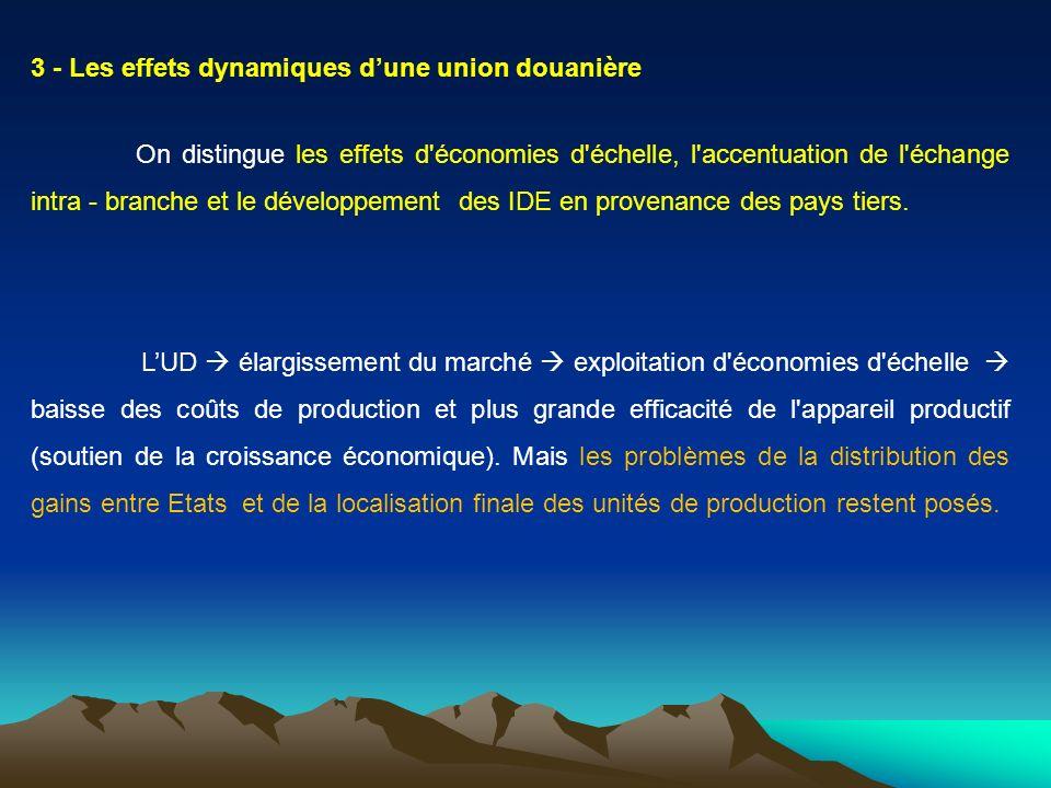 3 - Les effets dynamiques dune union douanière On distingue les effets d'économies d'échelle, l'accentuation de l'échange intra - branche et le dévelo