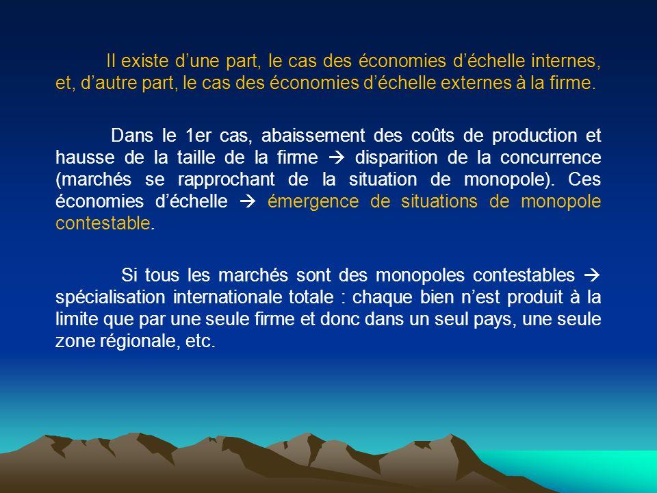 Il existe dune part, le cas des économies déchelle internes, et, dautre part, le cas des économies déchelle externes à la firme. Dans le 1er cas, abai