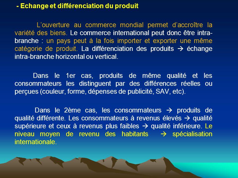 - Echange et différenciation du produit Louverture au commerce mondial permet daccroître la variété des biens. Le commerce international peut donc êtr