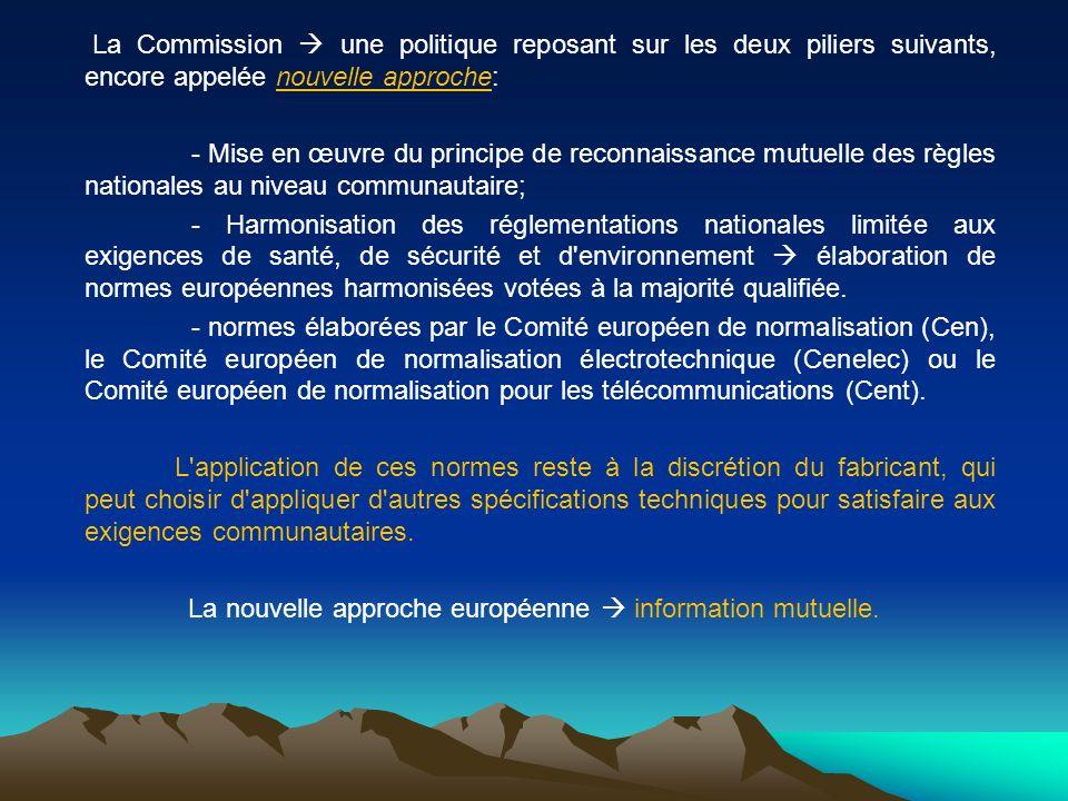 La Commission une politique reposant sur les deux piliers suivants, encore appelée nouvelle approche: - Mise en œuvre du principe de reconnaissance mu