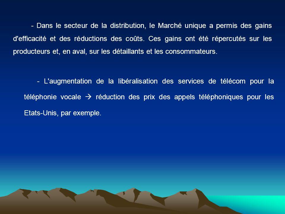 - L'augmentation de la libéralisation des services de télécom pour la téléphonie vocale réduction des prix des appels téléphoniques pour les Etats-Uni