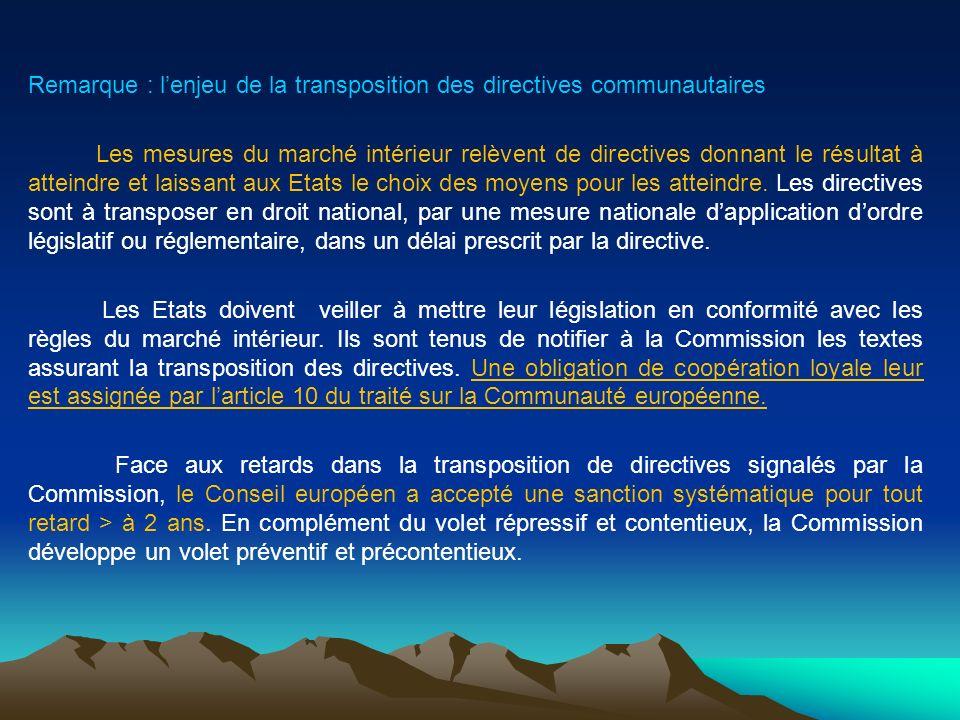 Remarque : lenjeu de la transposition des directives communautaires Les mesures du marché intérieur relèvent de directives donnant le résultat à attei