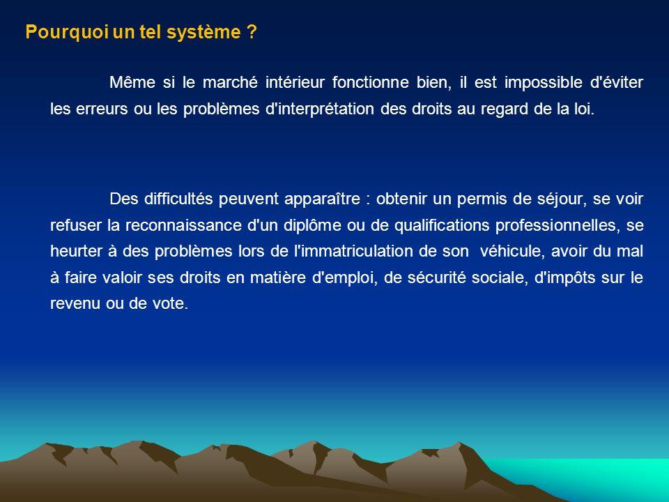 Pourquoi un tel système ? Même si le marché intérieur fonctionne bien, il est impossible d'éviter les erreurs ou les problèmes d'interprétation des dr