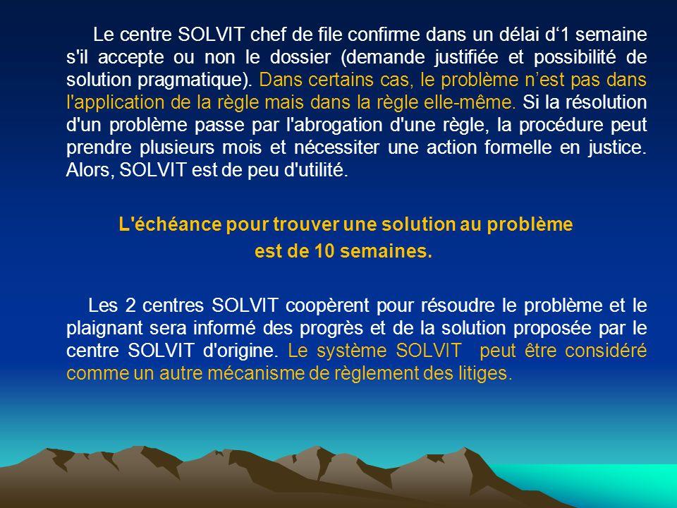Le centre SOLVIT chef de file confirme dans un délai d1 semaine s'il accepte ou non le dossier (demande justifiée et possibilité de solution pragmatiq