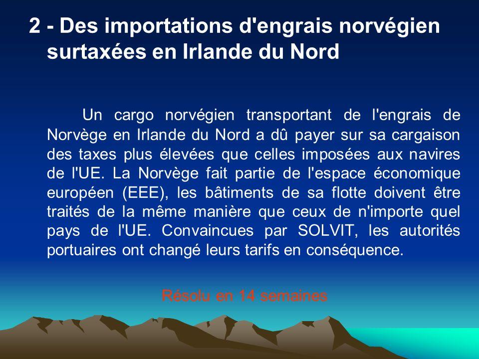 2 - Des importations d'engrais norvégien surtaxées en Irlande du Nord Un cargo norvégien transportant de l'engrais de Norvège en Irlande du Nord a dû
