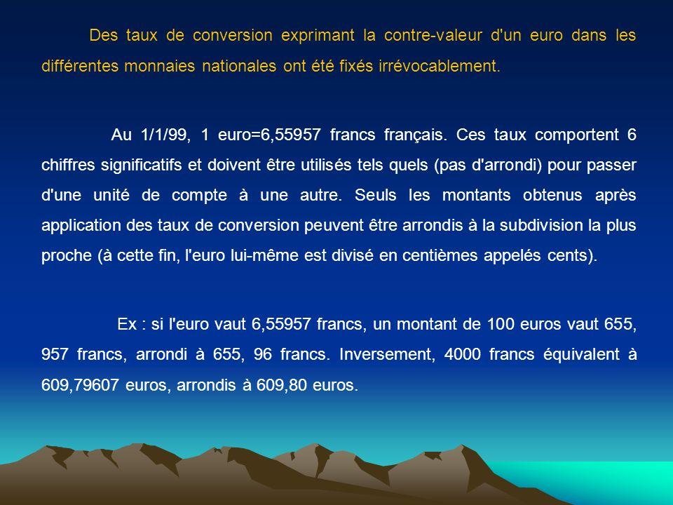 Des taux de conversion exprimant la contre-valeur d'un euro dans les différentes monnaies nationales ont été fixés irrévocablement. Au 1/1/99, 1 euro=