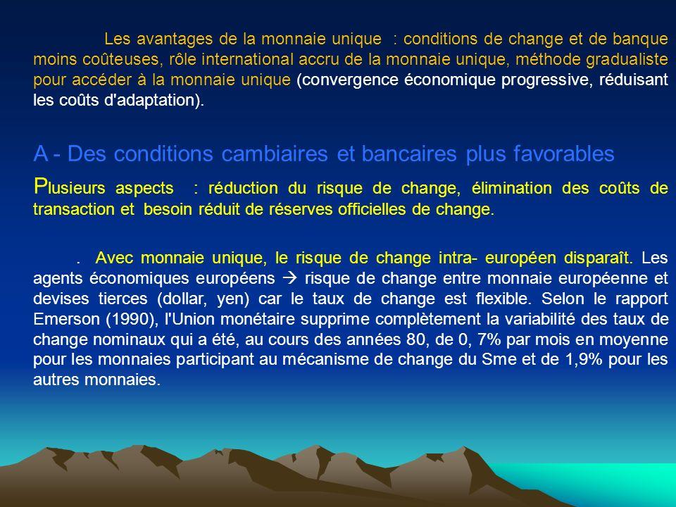 Les avantages de la monnaie unique : conditions de change et de banque moins coûteuses, rôle international accru de la monnaie unique, méthode gradual