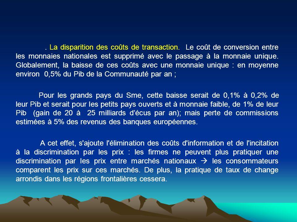 . La disparition des coûts de transaction. Le coût de conversion entre les monnaies nationales est supprimé avec le passage à la monnaie unique. Globa