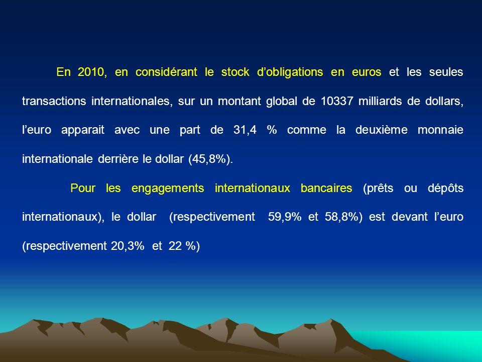 En 2010, en considérant le stock dobligations en euros et les seules transactions internationales, sur un montant global de 10337 milliards de dollars