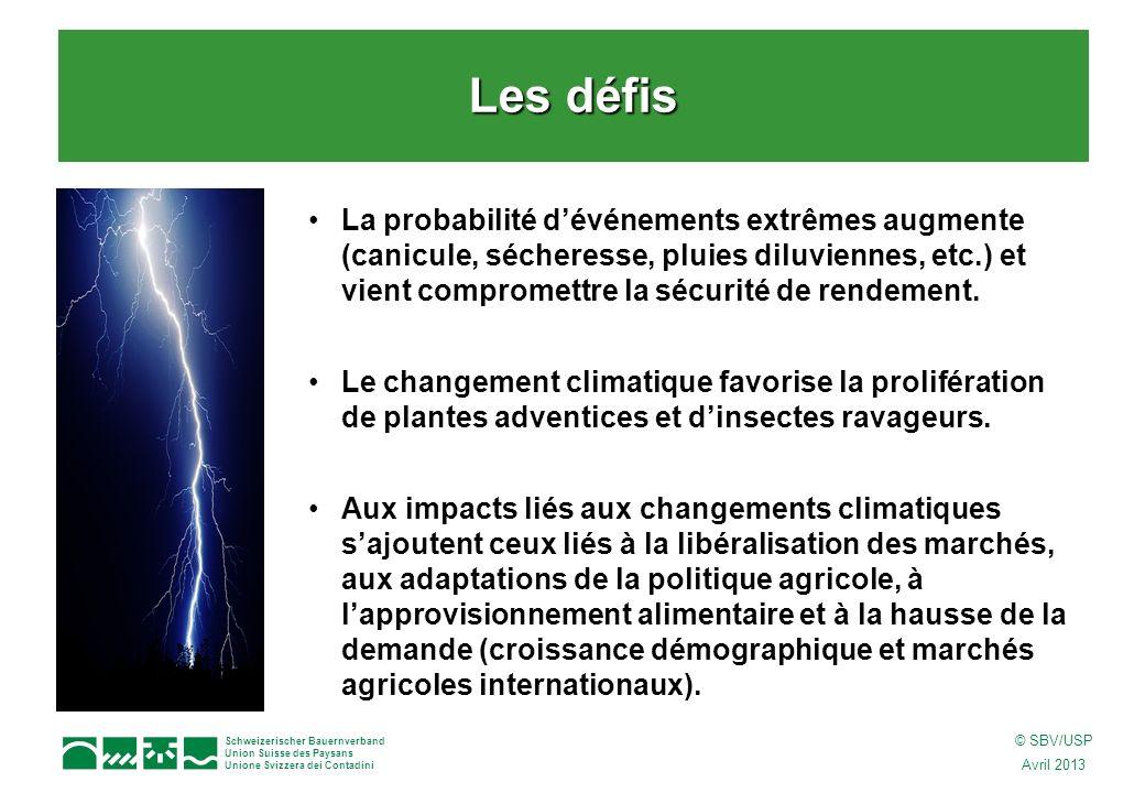 Schweizerischer Bauernverband Union Suisse des Paysans Unione Svizzera dei Contadini © SBV/USP Avril 2013 La probabilité dévénements extrêmes augmente (canicule, sécheresse, pluies diluviennes, etc.) et vient compromettre la sécurité de rendement.