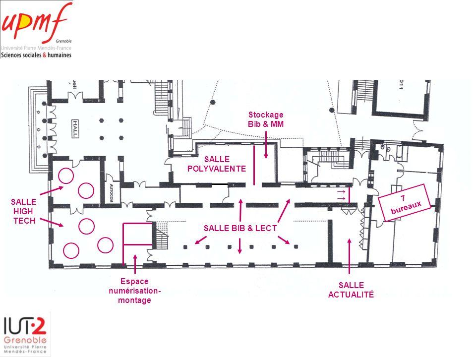 7 bureaux SALLE ACTUALITÉ SALLE BIB & LECT SALLE POLYVALENTE Stockage Bib & MM SALLE HIGH TECH Espace numérisation- montage