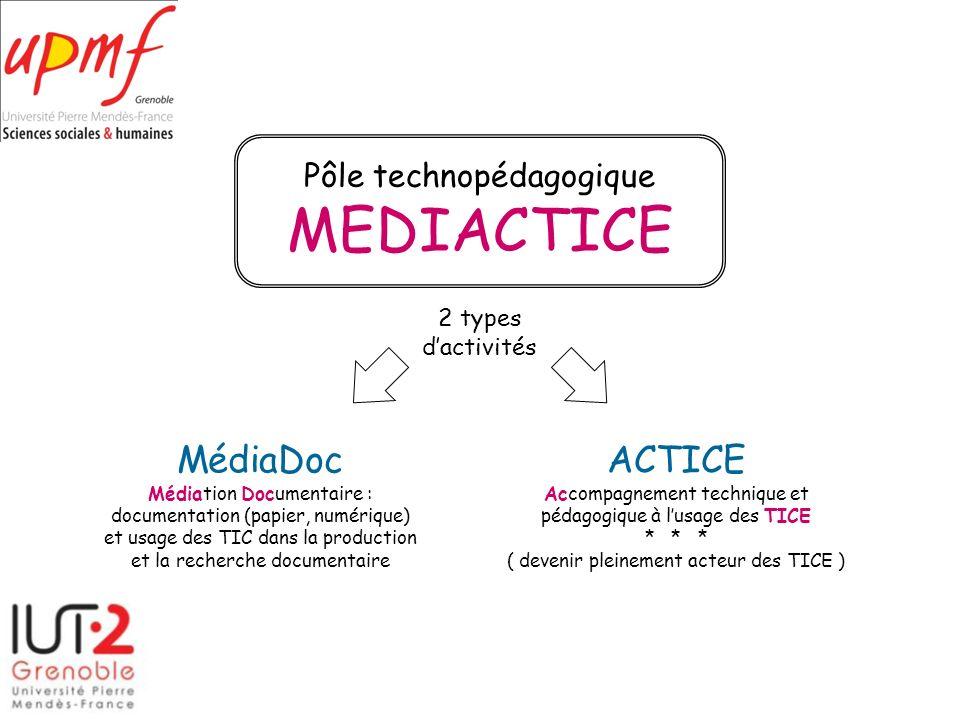 Pôle technopédagogique MEDIACTICE ACTICE Accompagnement technique et pédagogique à lusage des TICE * * * ( devenir pleinement acteur des TICE ) MédiaD