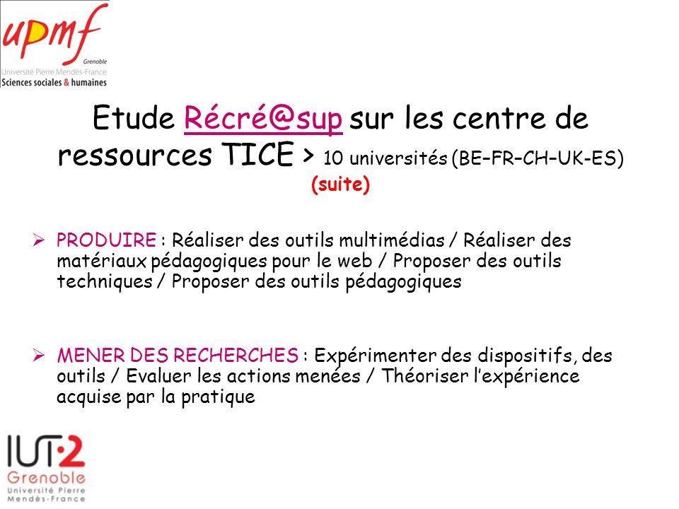 Etude Récré@sup sur les centre de ressources TICE > 10 universités (BE–FR–CH–UK-ES) (suite)Récré@sup PRODUIRE : Réaliser des outils multimédias / Réal