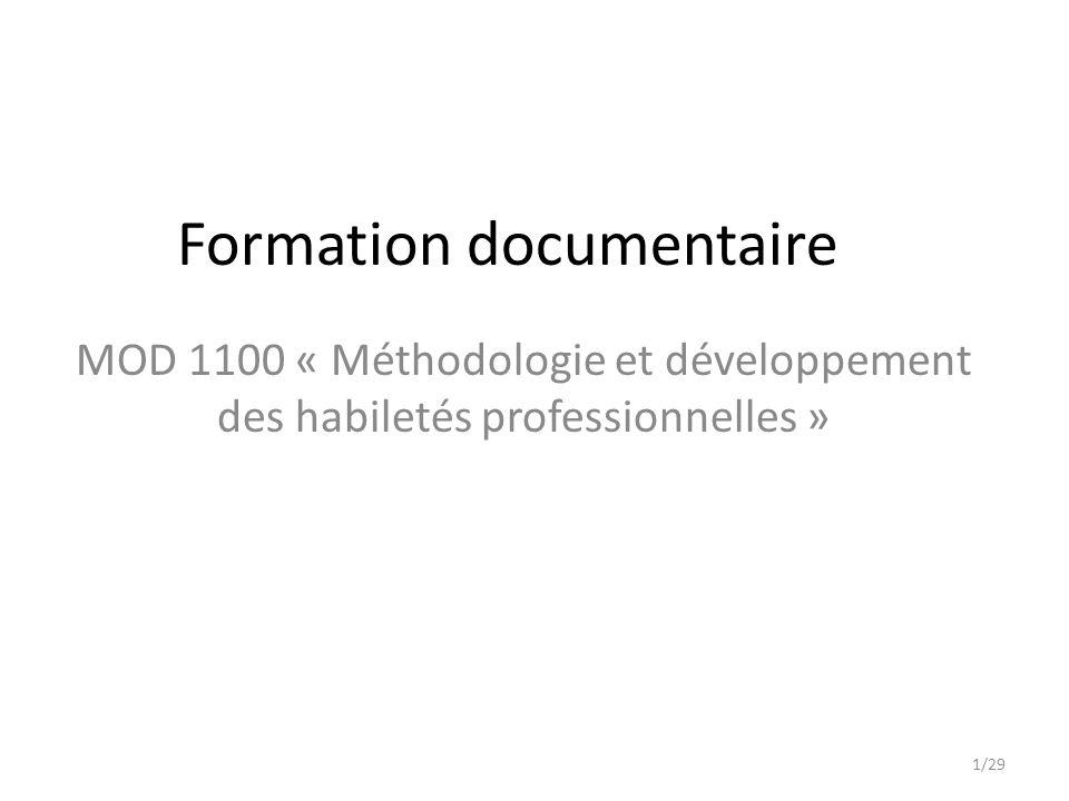 Formation documentaire MOD 1100 « Méthodologie et développement des habiletés professionnelles » 1/29