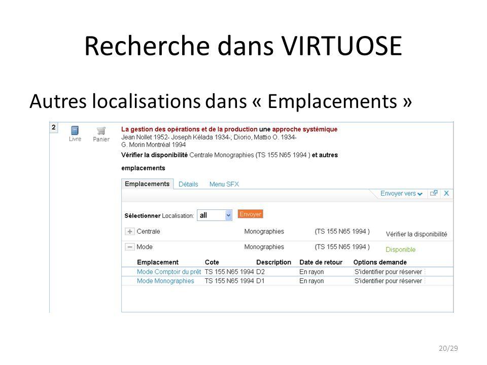 Recherche dans VIRTUOSE Autres localisations dans « Emplacements » 20/29