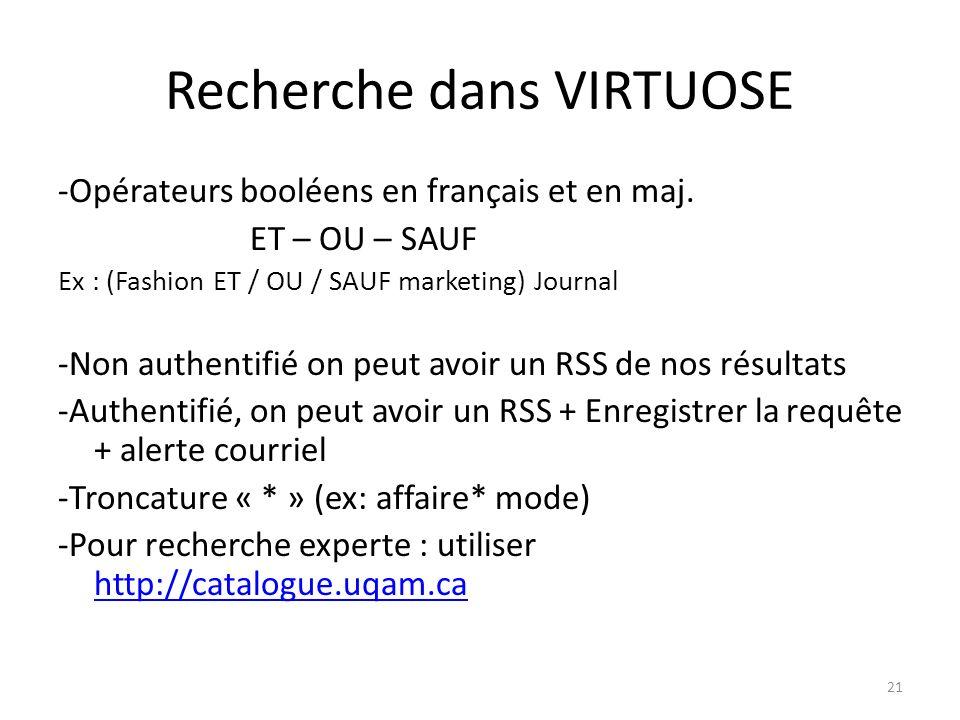 Recherche dans VIRTUOSE -Opérateurs booléens en français et en maj.