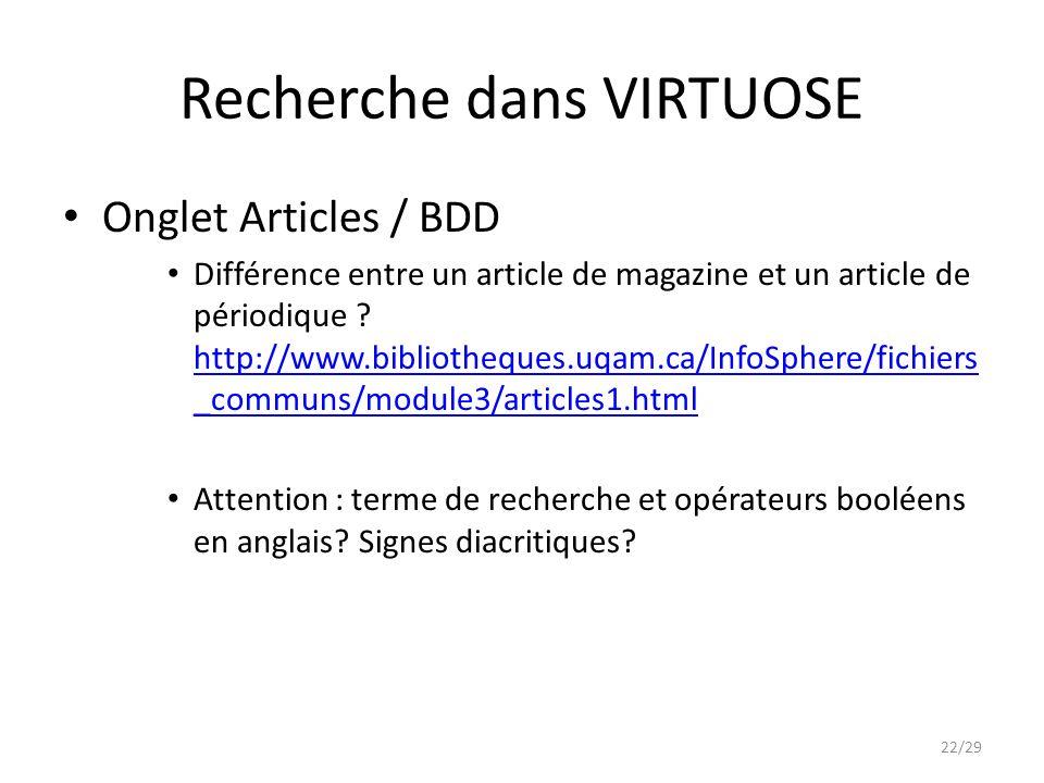 Recherche dans VIRTUOSE Onglet Articles / BDD Différence entre un article de magazine et un article de périodique .