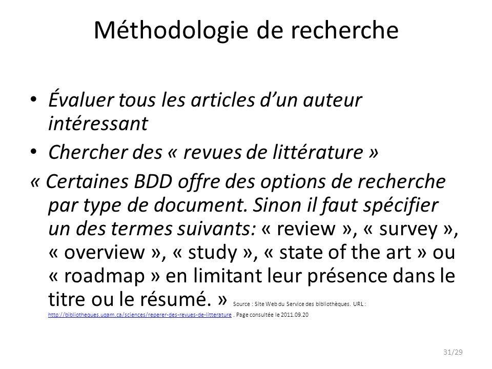 Méthodologie de recherche Évaluer tous les articles dun auteur intéressant Chercher des « revues de littérature » « Certaines BDD offre des options de recherche par type de document.