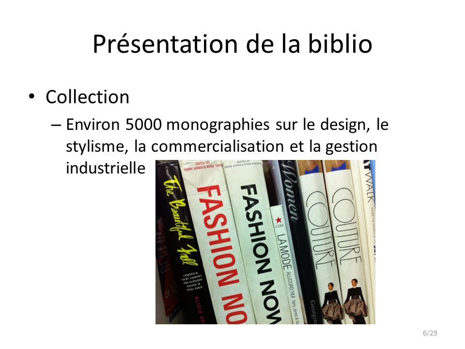 Présentation de la biblio Collection – Environ 5000 monographies sur le design, le stylisme, la commercialisation et la gestion industrielle 6/29