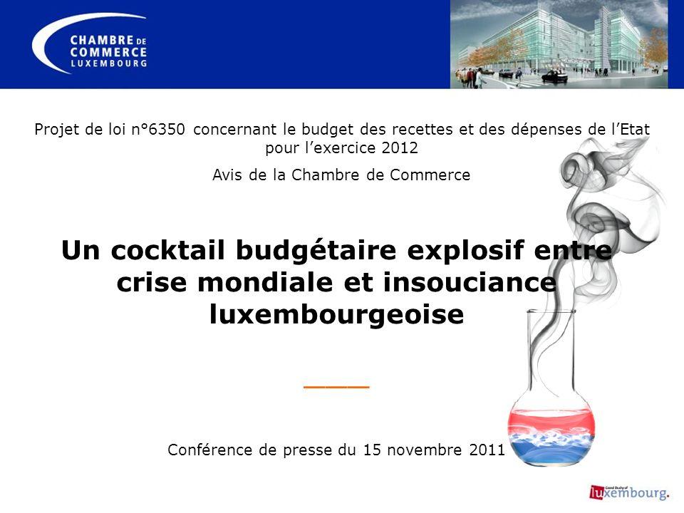 Un cocktail budgétaire explosif entre crise mondiale et insouciance luxembourgeoise ___ Conférence de presse du 15 novembre 2011 Projet de loi n°6350