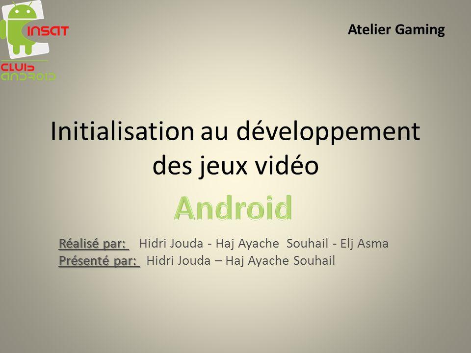 Initialisation au développement des jeux vidéo Réalisé par: Réalisé par: Hidri Jouda - Haj Ayache Souhail - Elj Asma Présenté par: Présenté par: Hidri