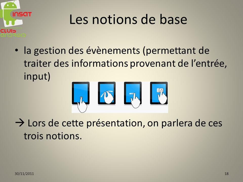la gestion des évènements (permettant de traiter des informations provenant de lentrée, input) Lors de cette présentation, on parlera de ces trois notions.