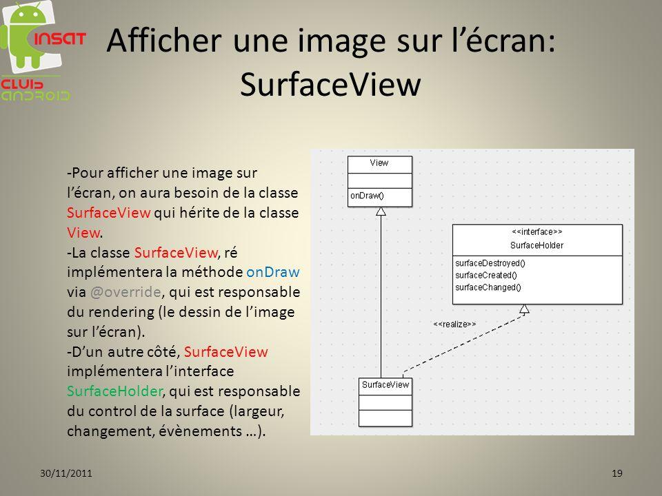 Afficher une image sur lécran: SurfaceView -Pour afficher une image sur lécran, on aura besoin de la classe SurfaceView qui hérite de la classe View.