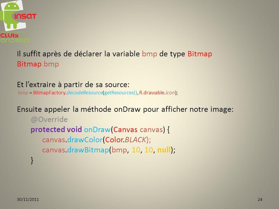 Il suffit après de déclarer la variable bmp de type Bitmap Bitmap bmp Et lextraire à partir de sa source: bmp = BitmapFactory.decodeResource(getResources(), R.drawable.icon); Ensuite appeler la méthode onDraw pour afficher notre image: @Override protected void onDraw(Canvas canvas) { canvas.drawColor(Color.BLACK); canvas.drawBitmap(bmp, 10, 10, null); } 30/11/201124