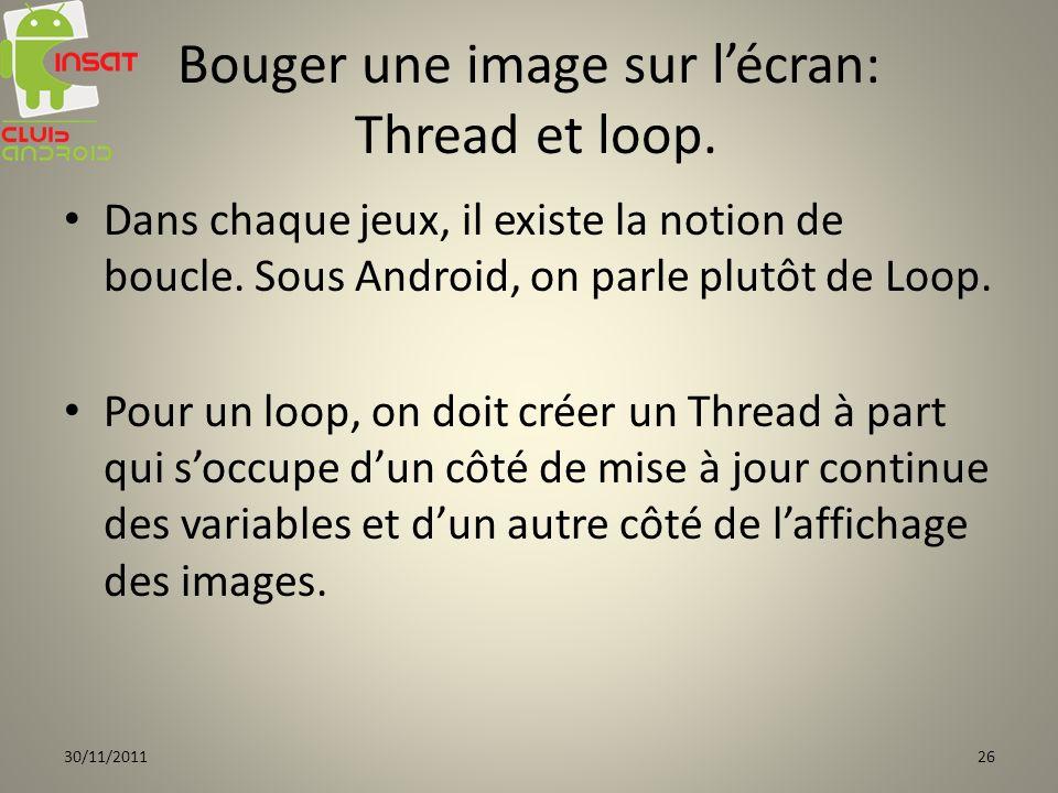 Bouger une image sur lécran: Thread et loop. Dans chaque jeux, il existe la notion de boucle. Sous Android, on parle plutôt de Loop. Pour un loop, on