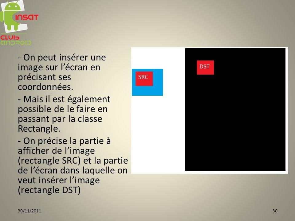 - On peut insérer une image sur lécran en précisant ses coordonnées. - Mais il est également possible de le faire en passant par la classe Rectangle.