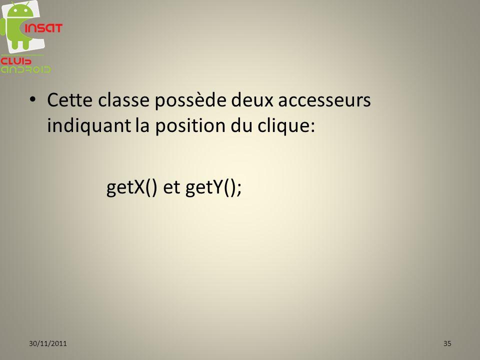 Cette classe possède deux accesseurs indiquant la position du clique: getX() et getY(); 30/11/201135