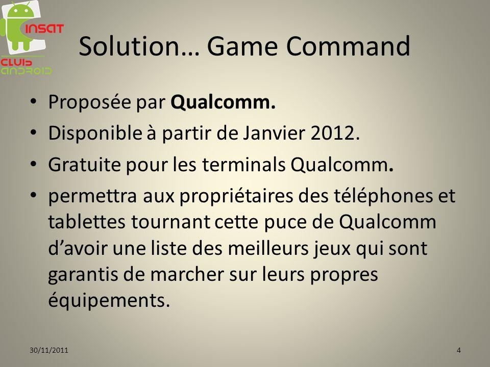 Solution… Game Command Proposée par Qualcomm. Disponible à partir de Janvier 2012. Gratuite pour les terminals Qualcomm. permettra aux propriétaires d