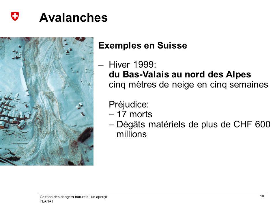 10 Gestion des dangers naturels | un aperçu PLANAT Exemples en Suisse –Hiver 1999: du Bas-Valais au nord des Alpes cinq mètres de neige en cinq semain