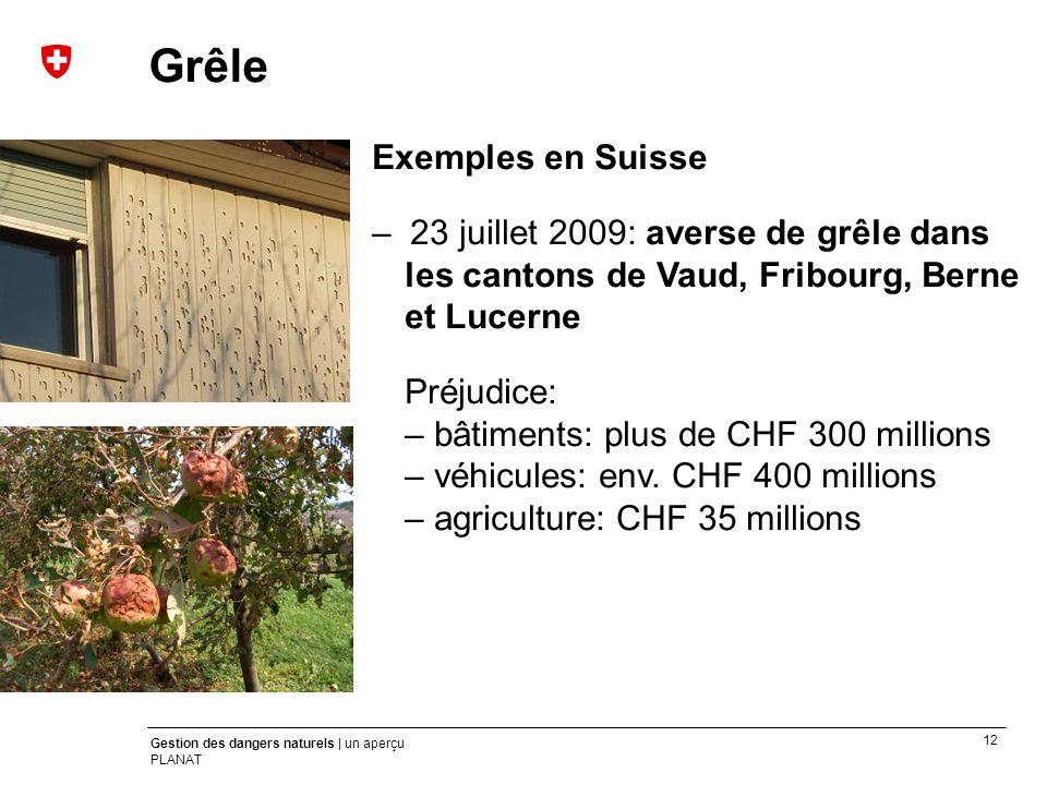 12 Gestion des dangers naturels | un aperçu PLANAT Exemples en Suisse – 23 juillet 2009: averse de grêle dans les cantons de Vaud, Fribourg, Berne et