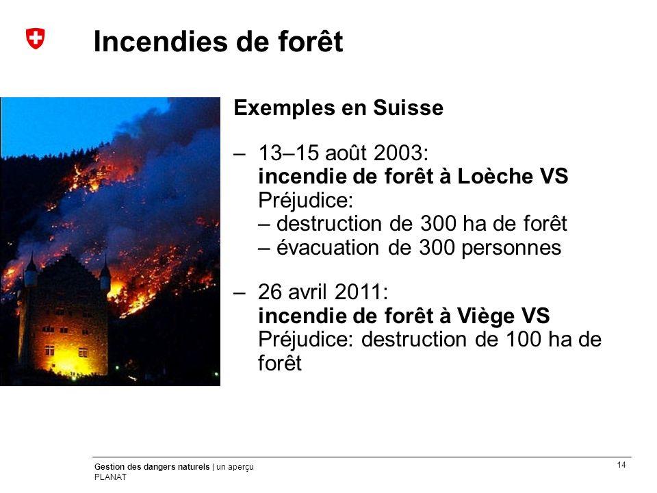 14 Gestion des dangers naturels | un aperçu PLANAT Exemples en Suisse –13–15 août 2003: incendie de forêt à Loèche VS Préjudice: – destruction de 300