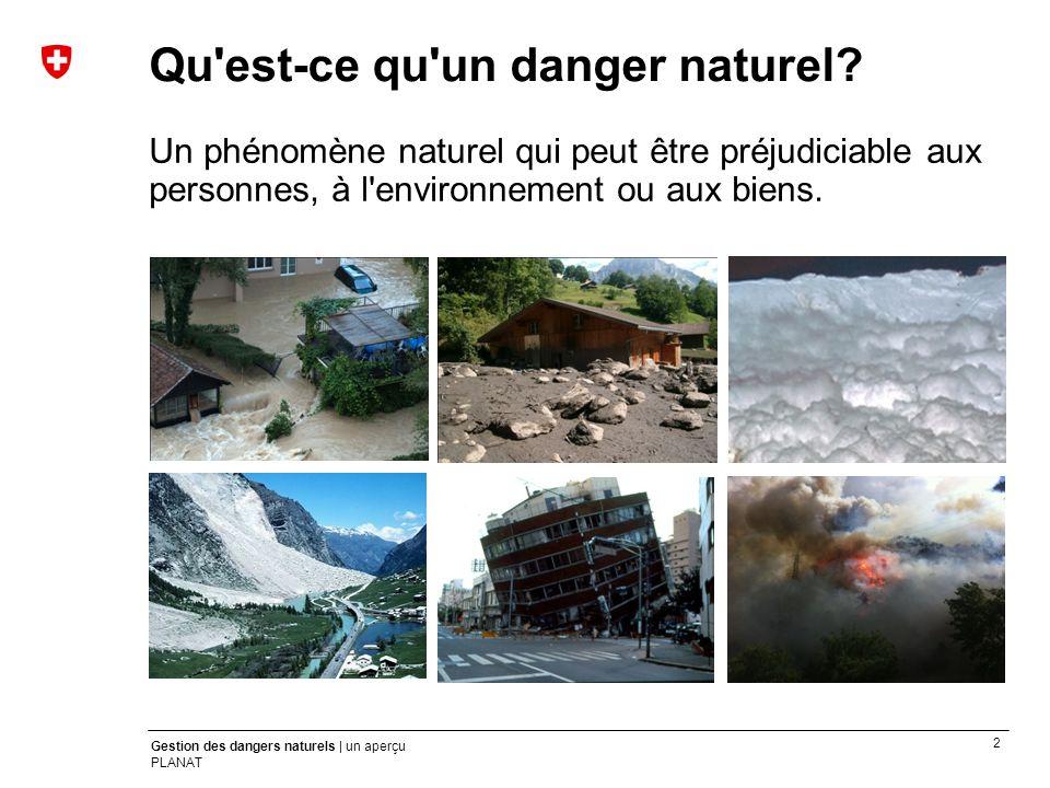 2 Gestion des dangers naturels | un aperçu PLANAT Qu'est-ce qu'un danger naturel? Un phénomène naturel qui peut être préjudiciable aux personnes, à l'